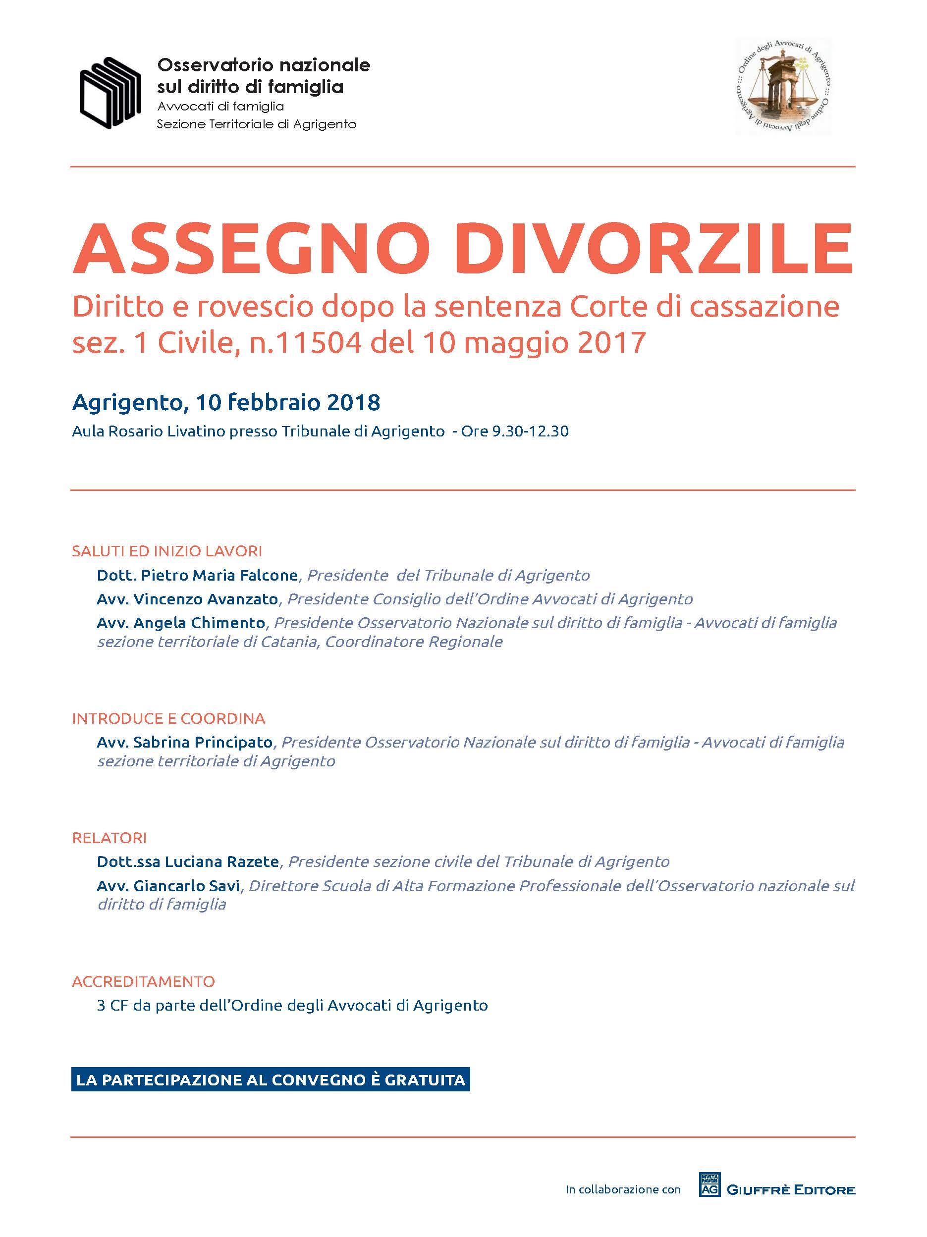 Locandina_Convegno ASSEGNO DIVORZILE Agrigento 10 febbraio 2018
